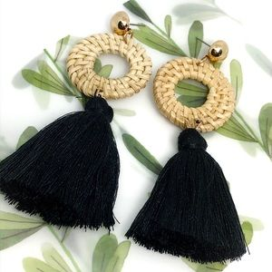 Black Bohemian Earrings Rattan hoop yarn tassel